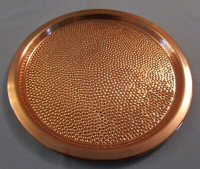 "BUY ME! Gregorian Hammered Solid Copper Round 12.25"" Platter Serving Tray Dish"