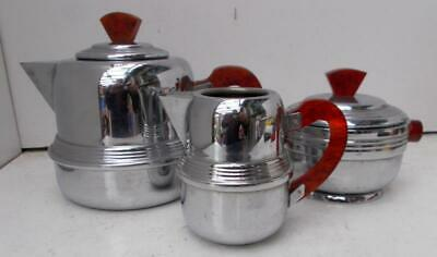 Vintage French Art Deco Chrome & Red Amber Bakelite Catalin Tea Set !