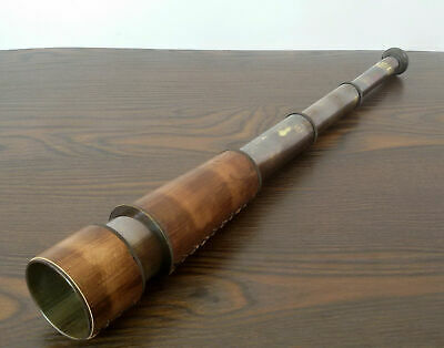 Vintage Nautical Telescope Brass Pirate Spyglass Scope Collectible Leather Bound