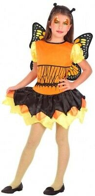 Girls Orange Butterfly Mini Beast Insect + Wings Book Fancy Dress Costume Outfit