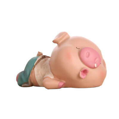 1PC Piggy Bank Resin Pig Lying Posture Cartoon Ornaments Craft Coin Box for Shop