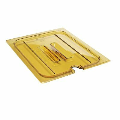 Cambro 20HPCHN150 H-Pan Amber 1/2 Size Notched Food Pan Cover w/Handle