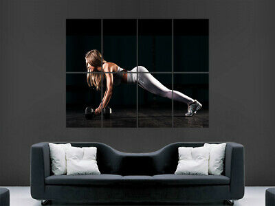 Sexy Girl Poster Hot Weightlifting Gym Fitness Pilates Yoga Art Wall Workout