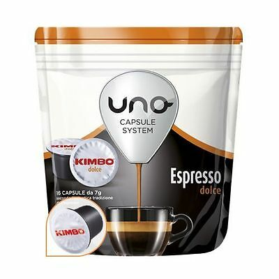 16 Dosettes Café' Uno Capsules System Kimbo Espresso Douces Originals Break Shop