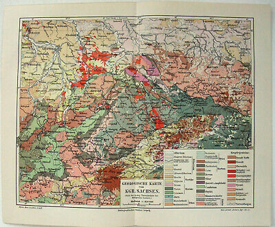 Saxony: Original 1910 Geological Map by Meyers. Sachsen. Germany Antique