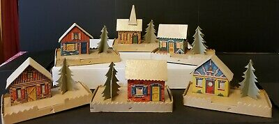 Christmas Village Houses.6 Cardboard Christmas Village Houses Vintage Putz Mica Lot