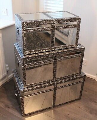 Embossed Mirrored Storage Trunks