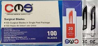 CMS #20 Surgical Podiatry Medical Blades Scalpels Stainless Steel 100/BX Sterile
