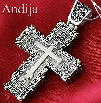 RARE BIG HEAVY MENS RUSSIAN ORTHODOX BODY ICON CROSS SILVER 925 SAINTS. 35g NEW