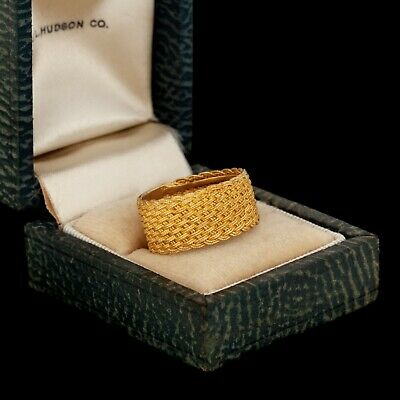 Antique Vintage Deco Retro Sterling 800 Silver Gold Wash Woven Band Ring Sz 7.75