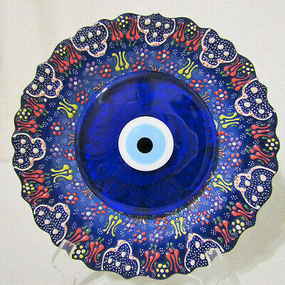 New Large Lucky Eye Glass Plate Wall Hanging Home Decor (Turkish Evil Eye) New