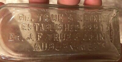 Antique Vtg Bottle Dr. True's Elixir Est. 1851 Dr. J F True Co. Inc Auburn Maine