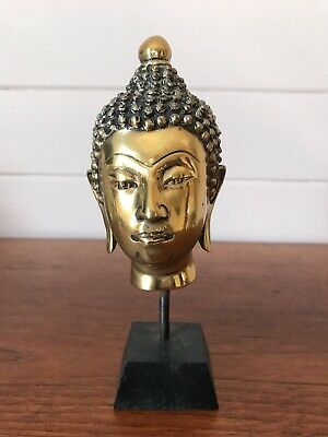 Vintage Chinese Brass Buddha Head On Stand