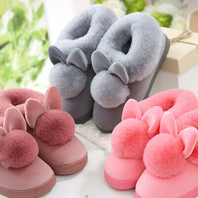 Womens Cashmere Winter Slippers Flip Flop Cute Rab Home Floor Soft Warm Shoes AU