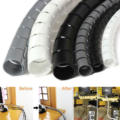 2M Cable Hide Wrap Tube 10/25mm Wire Spiral Flexible Cord Storage Organizer Tool