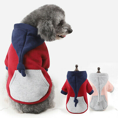 AU_ Pet Hoodie Buttons Tail Color Block Big Pocket Winter Dog Puppy Sweater Nove