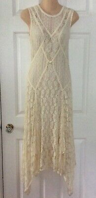 $950 HIGH by CLAIRE CAMPBELL Couture 1930's BIAS CUT STRETCH LACE DRESS L USA 8