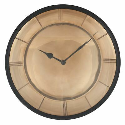 Classical Design Antique Gold Metal Round Wall Clock With Black Detail