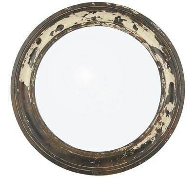 Antique Style Round Wooden Wall Mirror With Distressed Finish For Living Room
