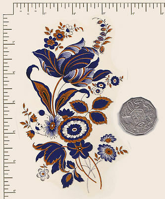 "1 x Waterslide ceramic decal Blue oriental flower with Gold  6"" x 3 1/2 PD903"