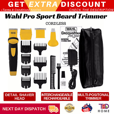 Wahl Groomsman Pro Sport Cordless Beard Trimmer Rechargeable Hair Clipper Pouch