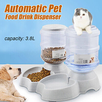 3.8L Large Automatic Pet Food Drink Dispenser Dog Cat Feeder Water Bowl Fashion