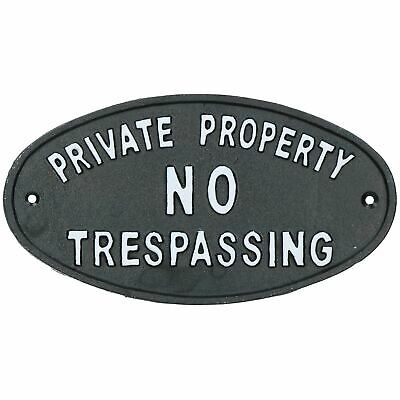 Private Property No Trespassing Cast Iron Sign Plaque Door Wall House Gate Post