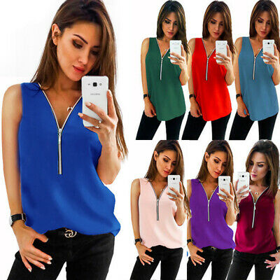 Plus Size Women Cami Vest Blouse Ladies Zip Sleeveless Summer Casual Tank Top