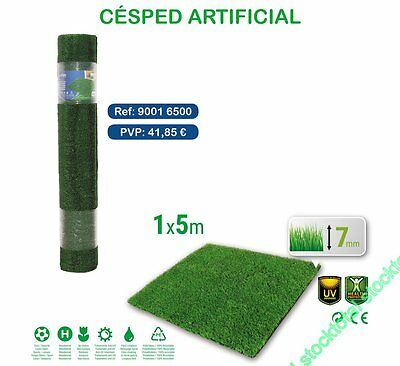 CESPED ARTIFICIAL Ancho 1 metro Longitud 5 MTS Longitud Desplegada7mm 90016500