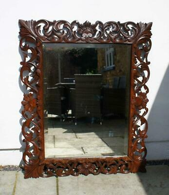 Large Edwardian Carolean style carved Oak  overmantle  mirror