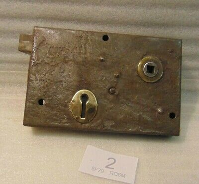 Antique  Brass And Steel Rim Door Lock  2