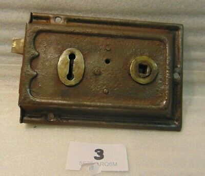Antique  Brass And Steel Duel Handled Rim Door Lock  3