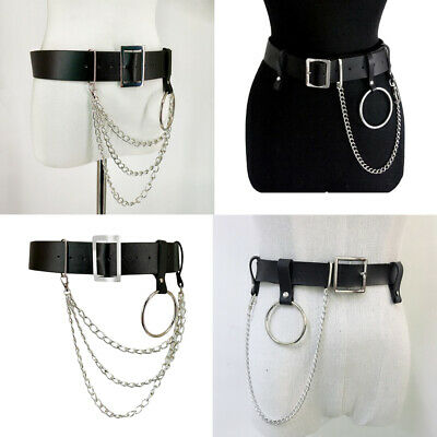 Punk Faux Leather Belt Adjustable Laser Metal Chain Hoop Rings Waist Black Strap
