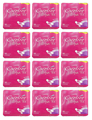 12 x Carefree Panty Liners 18 Perfect Fit - Regular size (light Protection)