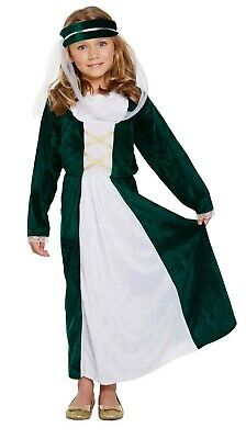 Girls Medieval Maiden Fancy Dress Up Costume Maid Marion Outfit Ages 4-9 yrs NEW