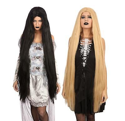 "Womens 40"" Wigs Fancy Dress Accessories Halloween Morticia Gothic"