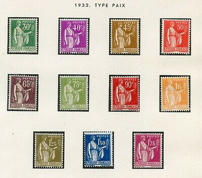 Stamp / Timbre France Neuf Serie Type Paix N° 280/289 * Cote + 140 €