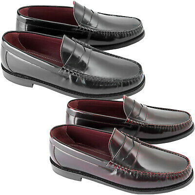 Ikon Mens Albion Formal Smart Casual Smooth Leather Retro Mod Slip-On Loafers