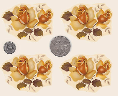 "4 x Waterslide ceramic decals Decoupage Roses Approx 2 1/2"" x 3 1/4"" PD620"