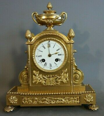 19thC Antique VICTORIAN Era MILLER & SON Old GILT Metal FRENCH Type MANTEL CLOCK