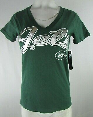 New York Jets Women's Tailspin Foil Script T-shirt in Green by NFL Team Apparel