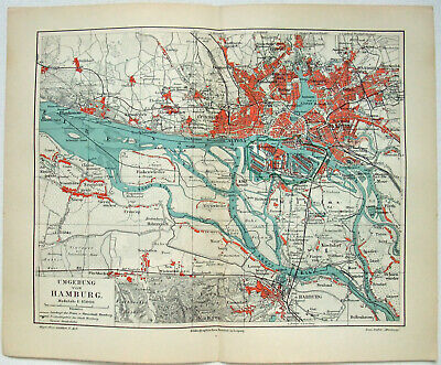 Original 1908 Map of Hamburg & Vicinity by Meyers. Germany. Antique