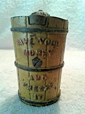 Antique J & E Stevens Cast Iron Ice Cream Churn North Pole Coin Bank Patent 1875