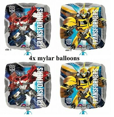 """4x 18"""" Transformers Optimus Prime & Bumble Bee Foil Mylar Party Balloon"""