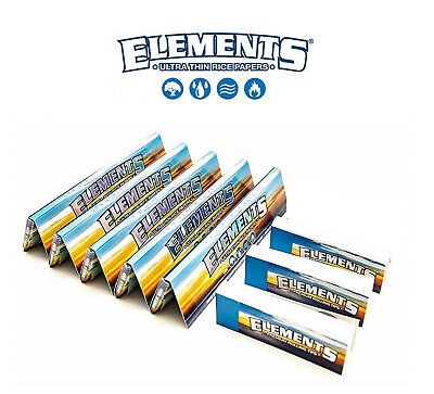 5x Elements King Size Slim Thin Rice Rolling Rizla Papers + 3x Roaches Tips NEW