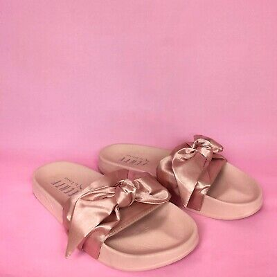 super popular 86def d6e9b PUMA FENTY BY Rihanna Satin Bow Slide in Silver Pink 6.5 ...