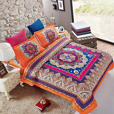 New 3 Piece Bohemian Duvet Cover Bedding Set With Pillow Cases Double King Size