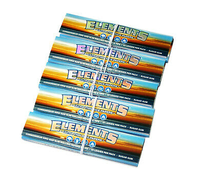 Elements King Size Connoisseur Ultra Rice Rolling Papers With Tips (x5 Packs)