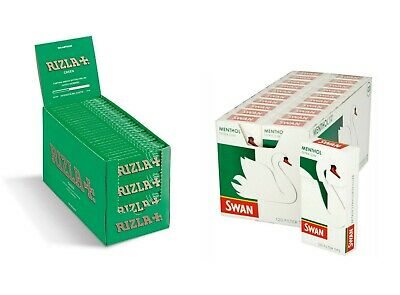 600 Rizla Green Reg Rolling Papers and 600 Swan Extra Slim Menthol Filter Tips