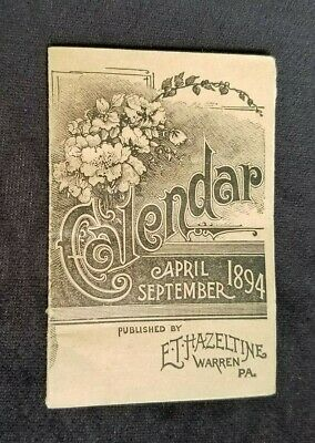 1894 April - Sept Calendar ET Hazeltine Warren PA Piso's Cure Remedy Consumption
